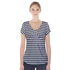 Friendly Houndstooth Pattern,black And White Short Sleeve Front Detail Top