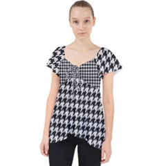 Friendly Houndstooth Pattern,black And White Lace Front Dolly Top