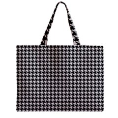 Friendly Houndstooth Pattern,black And White Zipper Medium Tote Bag
