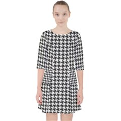 Friendly Houndstooth Pattern,black And White Pocket Dress