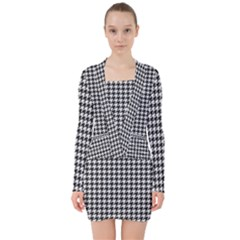 Friendly Houndstooth Pattern,black And White V Neck Bodycon Long Sleeve Dress