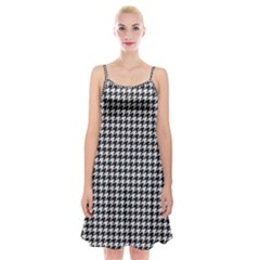 Friendly Houndstooth Pattern,black And White Spaghetti Strap Velvet Dress
