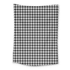 Friendly Houndstooth Pattern,black And White Medium Tapestry