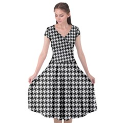 Friendly Houndstooth Pattern,black And White Cap Sleeve Wrap Front Dress