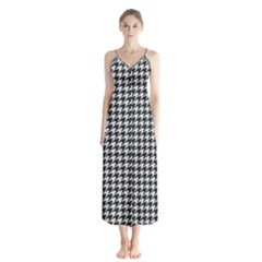 Friendly Houndstooth Pattern,black And White Button Up Chiffon Maxi Dress