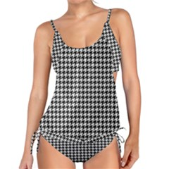 Friendly Houndstooth Pattern,black And White Tankini Set