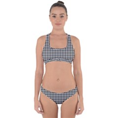 Friendly Houndstooth Pattern,black And White Cross Back Hipster Bikini Set