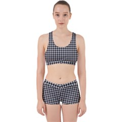 Friendly Houndstooth Pattern,black And White Work It Out Sports Bra Set