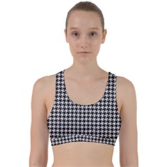 Friendly Houndstooth Pattern,black And White Back Weave Sports Bra