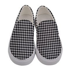 Friendly Houndstooth Pattern,black And White Women s Canvas Slip Ons