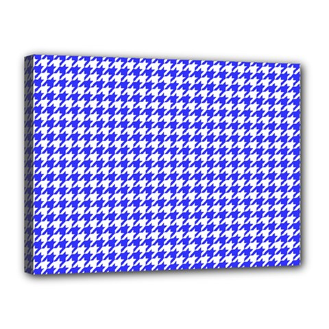 Friendly Houndstooth Pattern,blue Canvas 16  X 12