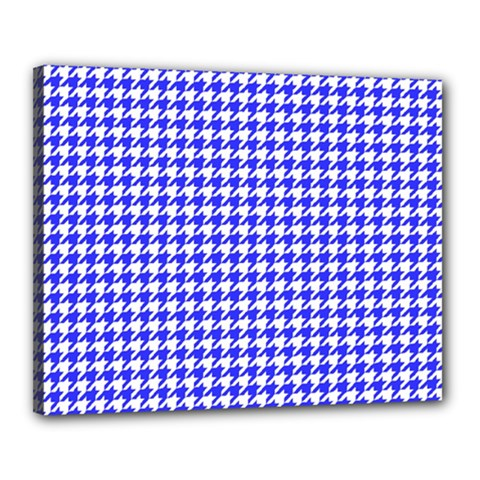 Friendly Houndstooth Pattern,blue Canvas 20  X 16