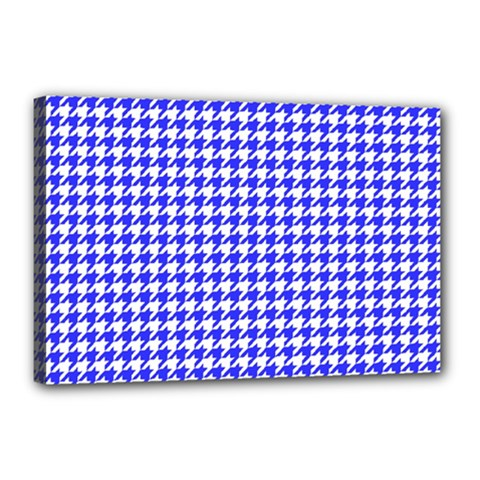 Friendly Houndstooth Pattern,blue Canvas 18  X 12