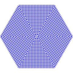 Friendly Houndstooth Pattern,blue Mini Folding Umbrellas