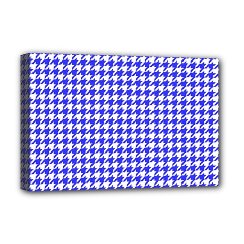 Friendly Houndstooth Pattern,blue Deluxe Canvas 18  X 12