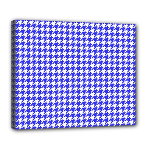 Friendly Houndstooth Pattern,blue Deluxe Canvas 24  X 20