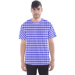 Friendly Houndstooth Pattern,blue Men s Sports Mesh Tee