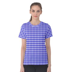 Friendly Houndstooth Pattern,blue Women s Cotton Tee