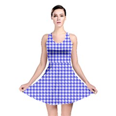 Friendly Houndstooth Pattern,blue Reversible Skater Dress