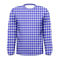 Friendly Houndstooth Pattern,blue Men s Long Sleeve Tee