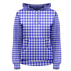 Friendly Houndstooth Pattern,blue Women s Pullover Hoodie
