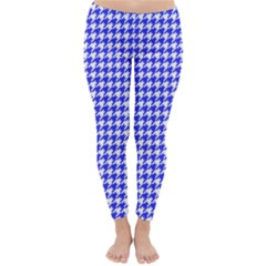 Friendly Houndstooth Pattern,blue Classic Winter Leggings