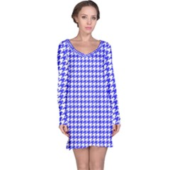 Friendly Houndstooth Pattern,blue Long Sleeve Nightdress