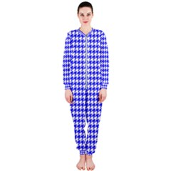 Friendly Houndstooth Pattern,blue Onepiece Jumpsuit (ladies)