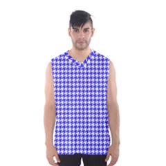 Friendly Houndstooth Pattern,blue Men s Basketball Tank Top