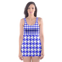 Friendly Houndstooth Pattern,blue Skater Dress Swimsuit