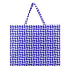 Friendly Houndstooth Pattern,blue Zipper Large Tote Bag