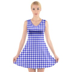Friendly Houndstooth Pattern,blue V Neck Sleeveless Skater Dress