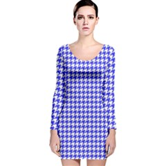 Friendly Houndstooth Pattern,blue Long Sleeve Velvet Bodycon Dress