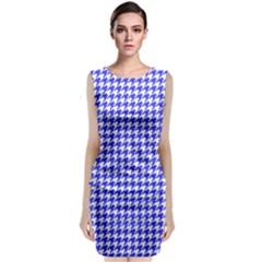 Friendly Houndstooth Pattern,blue Classic Sleeveless Midi Dress