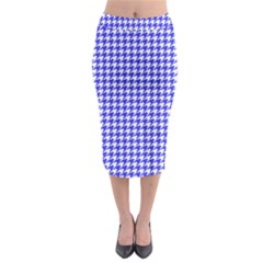 Friendly Houndstooth Pattern,blue Midi Pencil Skirt