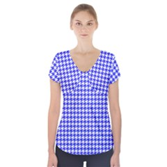 Friendly Houndstooth Pattern,blue Short Sleeve Front Detail Top