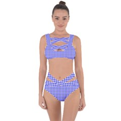 Friendly Houndstooth Pattern,blue Bandaged Up Bikini Set