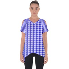Friendly Houndstooth Pattern,blue Cut Out Side Drop Tee