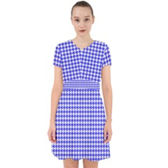Friendly Houndstooth Pattern,blue Adorable In Chiffon Dress