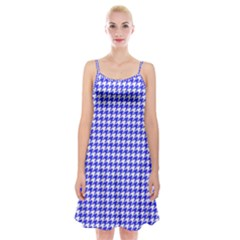 Friendly Houndstooth Pattern,blue Spaghetti Strap Velvet Dress