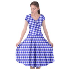 Friendly Houndstooth Pattern,blue Cap Sleeve Wrap Front Dress
