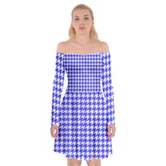 Friendly Houndstooth Pattern,blue Off Shoulder Skater Dress