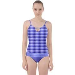 Friendly Houndstooth Pattern,blue Cut Out Top Tankini Set