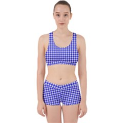 Friendly Houndstooth Pattern,blue Work It Out Sports Bra Set