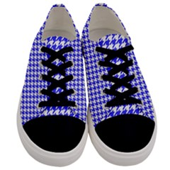 Friendly Houndstooth Pattern,blue Men s Low Top Canvas Sneakers