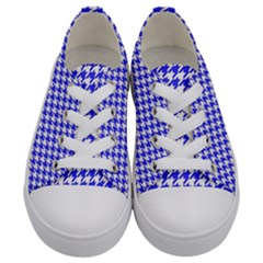 Friendly Houndstooth Pattern,blue Kids  Low Top Canvas Sneakers