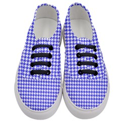 Friendly Houndstooth Pattern,blue Women s Classic Low Top Sneakers