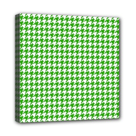 Friendly Houndstooth Pattern,green Mini Canvas 8  X 8