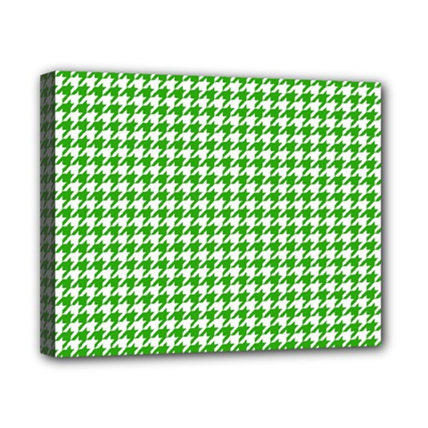 Friendly Houndstooth Pattern,green Canvas 10  X 8