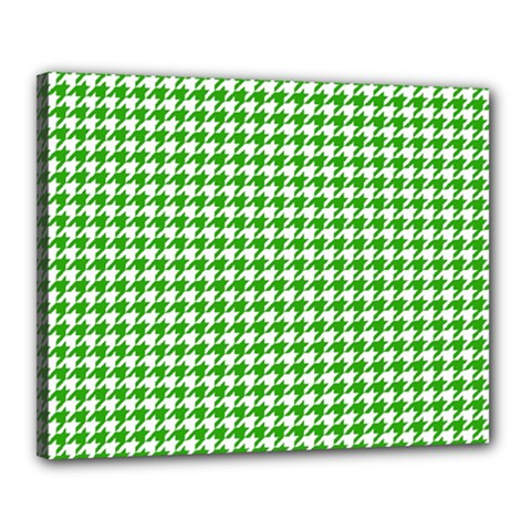 Friendly Houndstooth Pattern,green Canvas 20  X 16